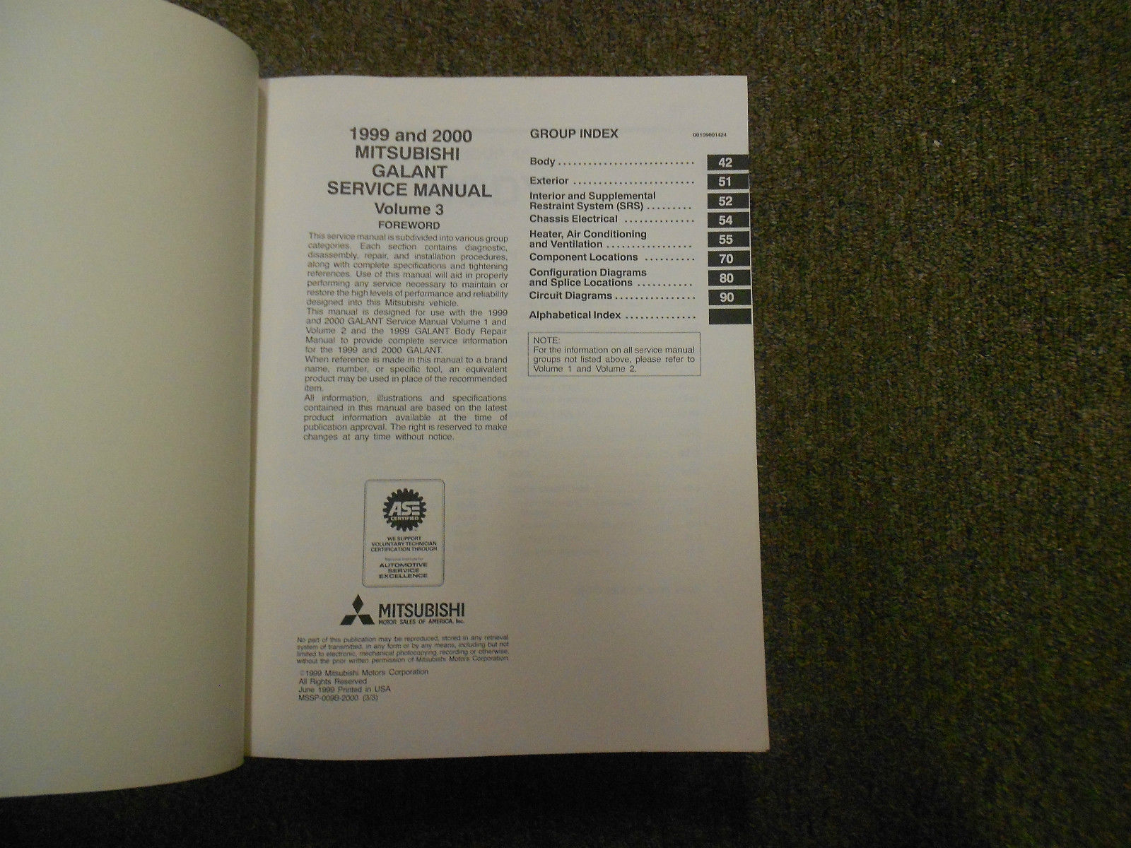 1999 2000 MITSUBISHI GALANT Service Shop Manual SET OEM DEALERSHIP BOOKS 1st EDI image 9