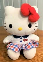 "2015 Hello Kitty Plush, Blue & Red Sitting 9"" Sanrio - $9.89"