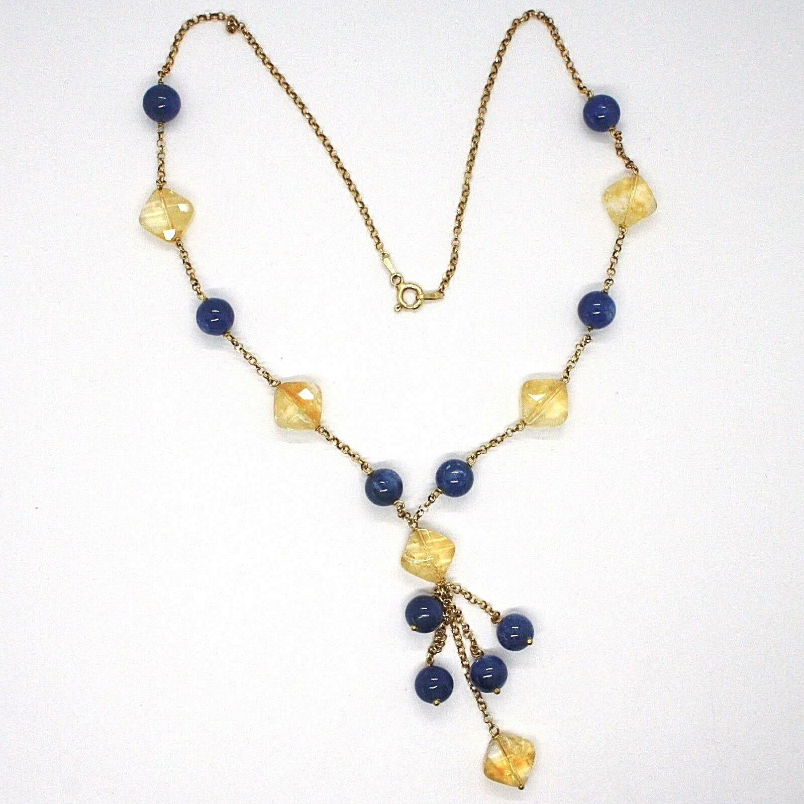 SILVER 925 NECKLACE, YELLOW, QUARTZ CITRINE, KYANITE, PENDANT BUNCH