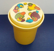 vintage retro plastic gold canister with groovy magical mushroom graphic... - $12.17