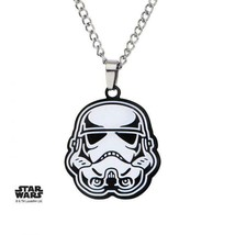 Disney Star Wars Etched Enamel, Stainless Steel Stormtrooper Pendant wit... - $26.00