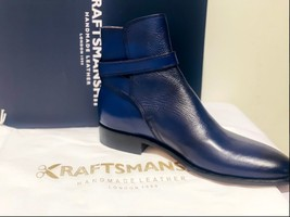 Handmade Men's Blue High Ankle Monk Strap Leather Boot image 7
