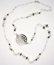 Collier Long 1 MT en Argent 925 Avec Hématite Agate Et Perles Fabriqué En Italie image 2