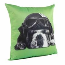 "Captain Lime Bulldog Snoozing Goggles Helmet 17"" - 43cm Cushion Cover - £4.50 GBP"