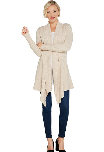 Primary image for Isaac Mizrahi Live! Mixed Stitch Cascade Shawl Collar Cardigan, Oatmeal, L