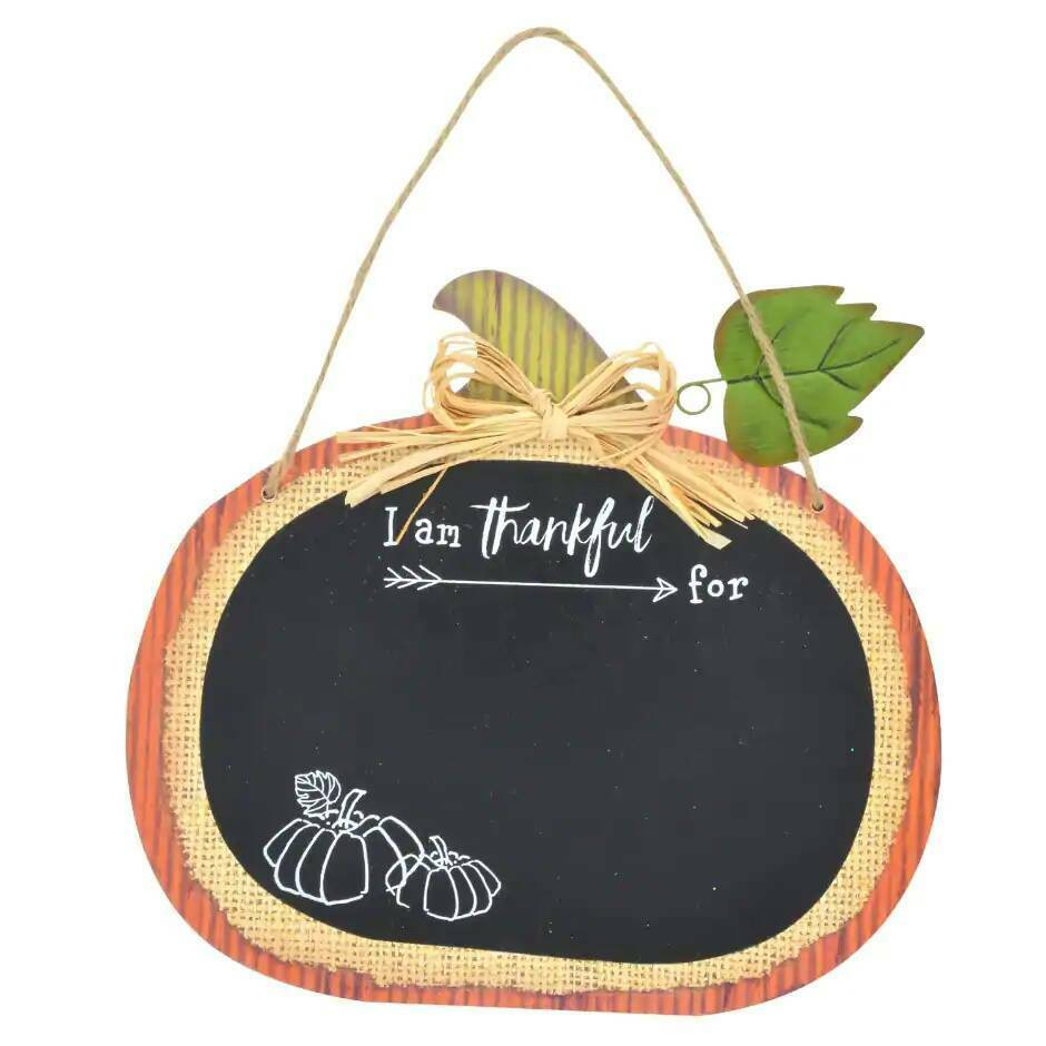 "Primary image for Harvest Thankful Pumpkin Shaped Chalkboard Wall Decoration Sign approx.9""X 12"""