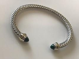David Yurman Sterling Silver 14k Gold Green Malachite 5mm Cable Classic Bracelet - $299.99