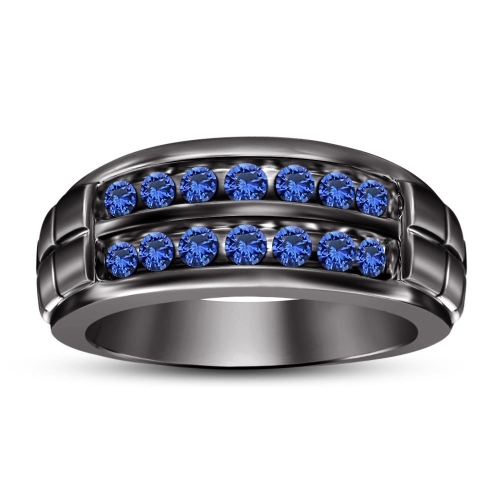 Primary image for 925 Silver 14k Black Gold Finish Round Cut Blue Sapphire Men's Wedding Band Ring