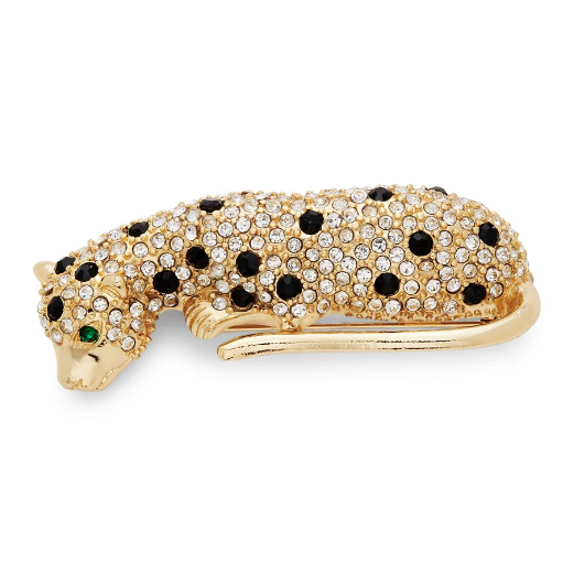 Primary image for KENNETH JAY LANE KJL Leopard Black White gold cubic zirconia Brooch Pin MRSP$345