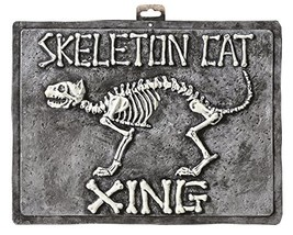 Crazy Bonez Skeleton Cat Crossing Sign - $11.11