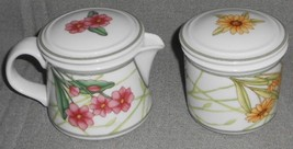 Dansk Cafe Floral Pattern Creamer w/Lid And Sugar w/Lid Set - $39.59