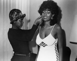 Pam Grier in Foxy Brown on Set Pose in Curvaceous White Dress with Cleavage 16x2 - $69.99