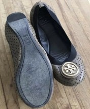 Tory Burch Shoes Ballet Flats Size 6.5 Slip On Brown Leather Gold Monogr... - $51.59