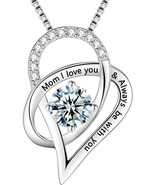Sterling Silver Necklace Heart Engraved Mom I Love You and Always Be Wit... - $115.33