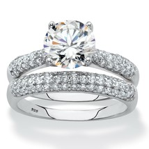 2.81 TCW 2-Piece Round Cubic Zirconia .925 Sterling Silver Wedding Ring Set - $29.82
