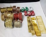 Christmas Ribbon & Trimming Lot: Set of 18 Packages, Holiday Crafts, Presents
