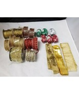 Christmas Ribbon & Trimming Lot: Set of 18 Packages, Holiday Crafts, Presents - $19.34