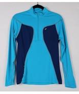 Asics women's workout athletic t shirt tee long sleeve half zipper blue ... - $18.89