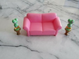 Loving Family Fisher Price Pink Sofa & 2 Plants - $15.00