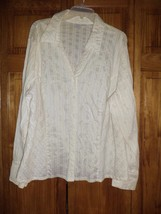 CASLON beige semi sheer pinstripe button down shirt sz 22W woman's - $6.79