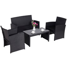 4 PC Outdoor Patio Rattan Wicker Furniture Sectional Set Garden Cushione... - $249.99