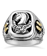 Paladin Pistolero Mens signet engraved ring   Sterling Silver - $100.98
