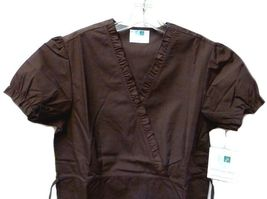 Brown Scrub Set XL V Neck Top Drawstring Pants Women's Medical Uniforms #616/701 image 5