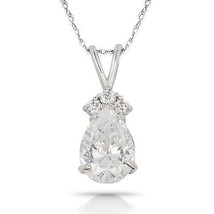 3.70 CT White Topaz Pear Shape 4 Stone Gemstone Pendant & Necklace14K W Gold - $153.45