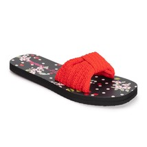 New Betsey Johnson Slides Knot Bow Red Black Sandals Shoes Size Medium 7/8 - $24.70