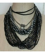Necklaces LOT Fashion Jewelry Vintage Silver Black Gray Beads Pearls Cho... - $24.70