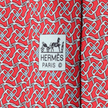 100% Auth HERMES TIE Silk Necktie Mens EQUESTRIAN GEOMETRIC Pattern 5525 - $122.95