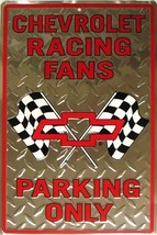 Chevrolet Racing Fans Parking Only Embossed Tin Sign - $15.95