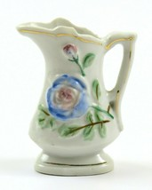 Miniature Ceramic Pitcher Flower Bud Vase, Gold Trim, Occupied Japan  - $12.86