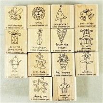 """Stampin' Up Rubber Stamps 2003 Wood Mounted """"Be Happy"""" Lot of 14 - New Unused - $19.99"""
