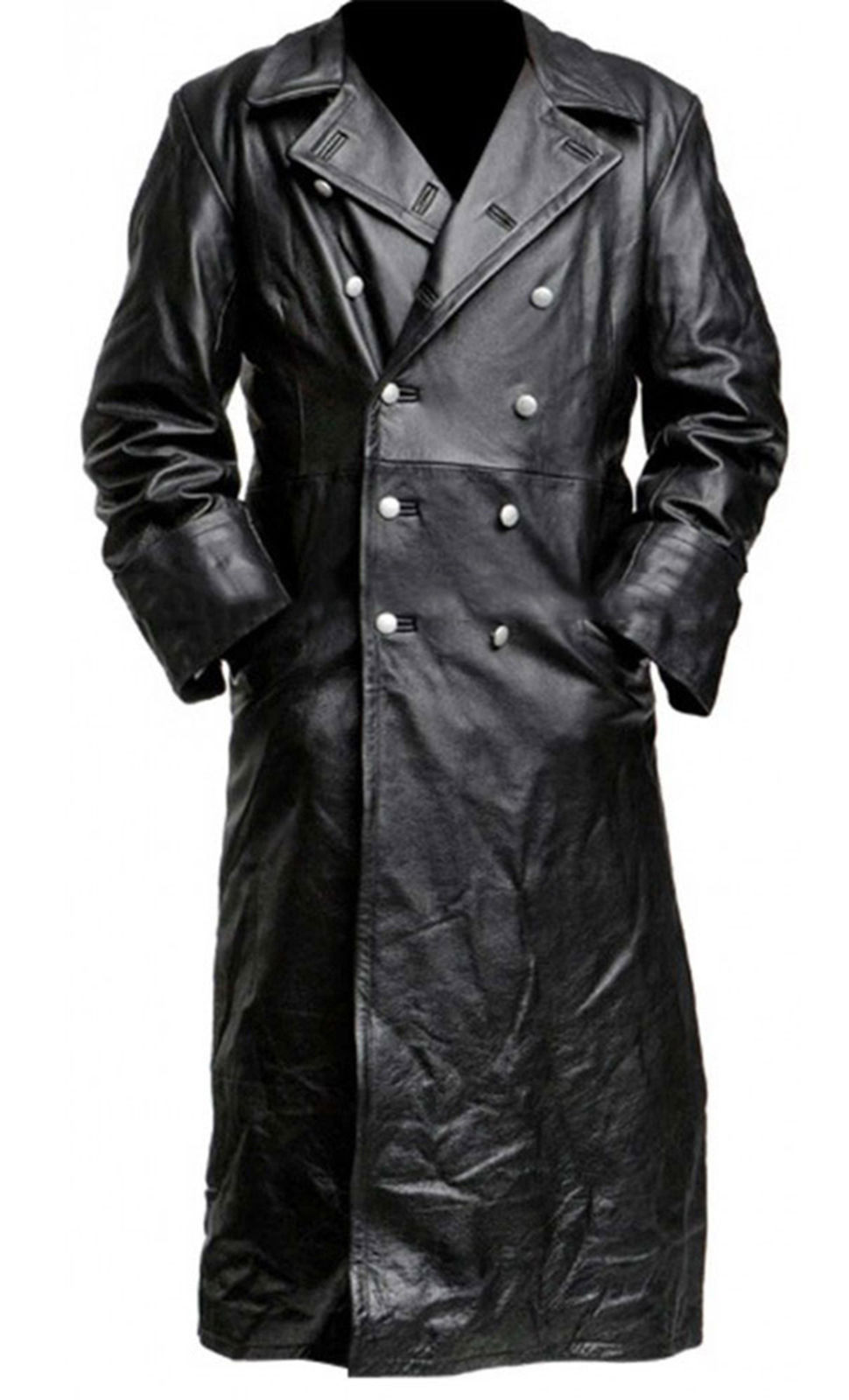 German Classic WW2 Military Officer Uniform Black Costume Leather Trench Coat