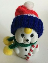 "Vintage 1970s Ceramic Bell Snowman w/Custom Made Knit Hat Figurine 3.5""T... - $17.18"