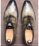 Men's Handmade Patina Leather Oxfords Dress Shoes Custom Made Formal Shoes - $164.89+
