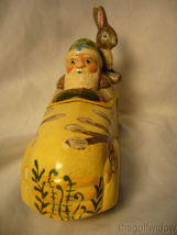 Vaillanc/2ourt Folk Art Spring Break Santa in a Car with  Bunny Signed no.18018 image 5