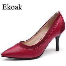 Ekoak Autumn Genuine Leather Wedding Shoes Woman Sexy High Heels Women P... - £27.12 GBP