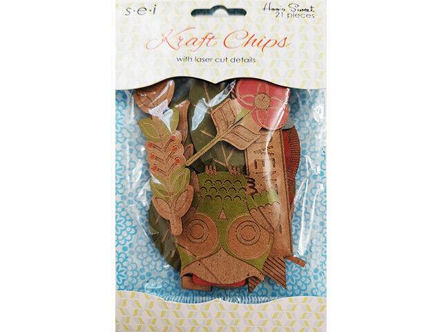 "SEI Kraft Chips ""Hoo's Sweet"", Great ephemera for Scrapbooks, Cards, Journals"