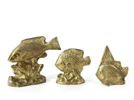 Brass Decorative tropical fish figurine set of 3 paper weight bookshelf ... - $79.00