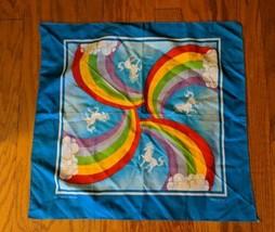 Vintage 80's Unicorn Rainbow Bandana RN14193 Polycotton Handkerchief USA... - $32.71