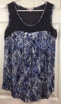 CB Established 1962 Sleeveless Tank Blouse Polka Dot Paisley Blue White ... - $11.83