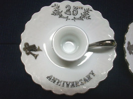 2 Lefton 25TH Anniversary Elegant Candle Holders Hand Painted China Numberd 6940 - $25.00