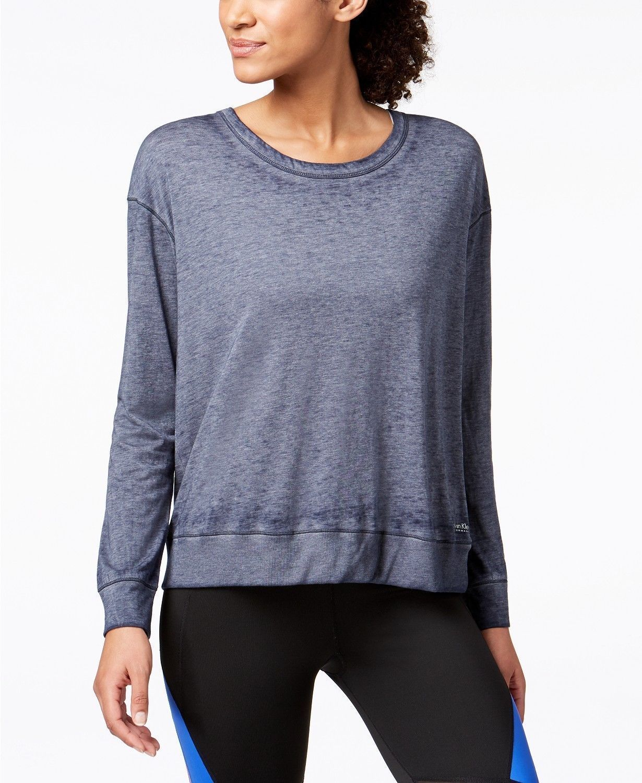 Calvin Klein Womens Performance Drop Shoulder Tie TShirt Solitaire Grey S 4275-3 - $26.45