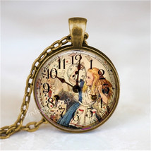 ALICE In WONDERLAND Necklace, Steampunk Necklace, Vintage Clock, Alice in Wonder - $12.95
