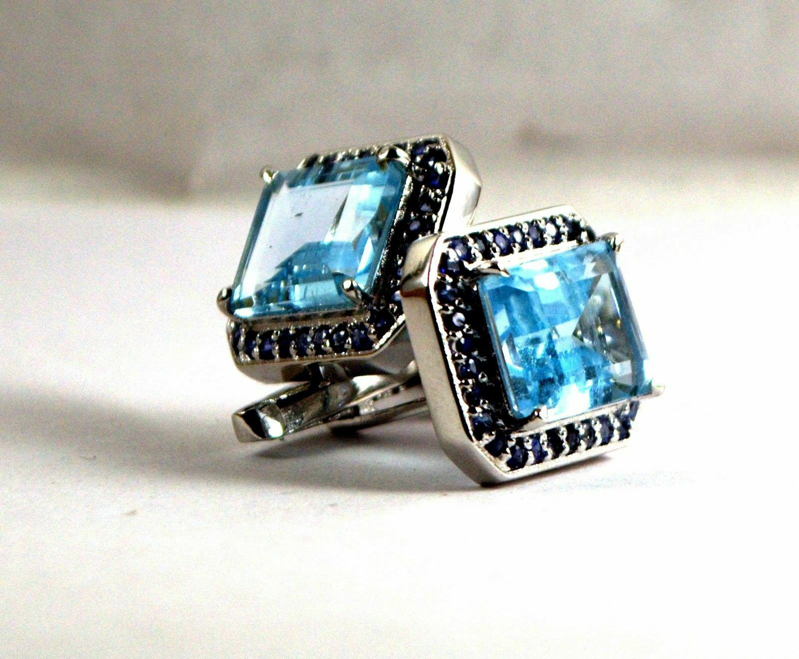 925 Sterling Silver Natural Fine Quality Blue Topaz And Blue Sapphire Gemstone A image 5