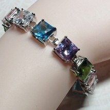 "Sterling Silver 9mm Princess Cut Square Multi-Color Stone 7"" Bracelet 28... - $74.25"
