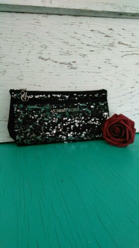 Victoria's Secret Cosmetic Bag Sequin Clutch Wristlet Makeup Bag Black - $18.81