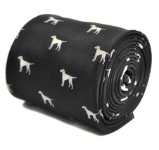 Frederick Thomas Black Mens Tie with Dog Outline Design RRP£19.99 FT3297